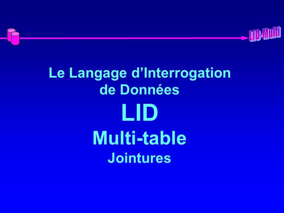 Le Langage dInterrogation de Données LID Multi-table Jointures