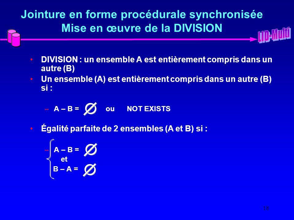 18 Jointure en forme procédurale synchronisée Mise en œuvre de la DIVISION DIVISION : un ensemble A est entièrement compris dans un autre (B) Un ensemble (A) est entièrement compris dans un autre (B) si : –A – B = ou NOT EXISTS Égalité parfaite de 2 ensembles (A et B) si : –A – B = et B – A =