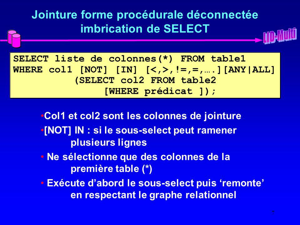 7 Jointure forme procédurale déconnectée imbrication de SELECT SELECT liste de colonnes(*) FROM table1 WHERE col1 [NOT] [IN] [,!=,=,….][ANY|ALL] (SELE