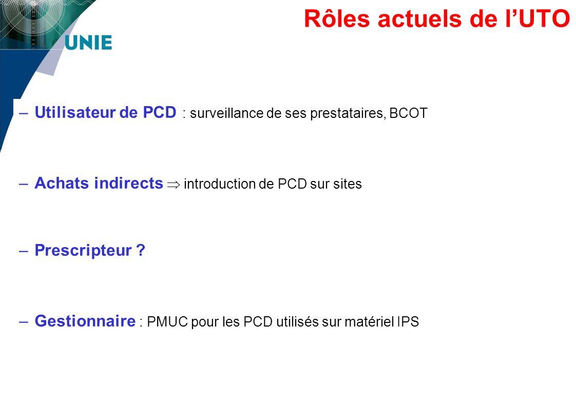 –Utilisateur de PCD : surveillance de ses prestataires, BCOT –Achats indirects introduction de PCD sur sites –Prescripteur ? –Gestionnaire : PMUC pour