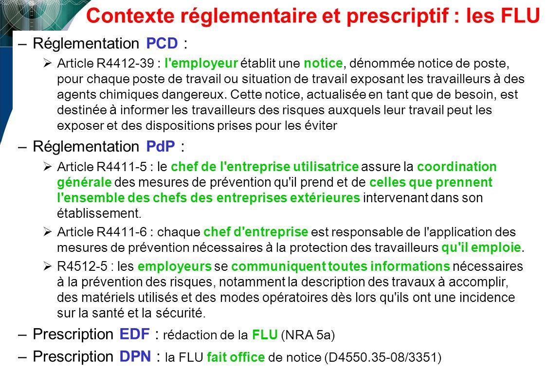 Contexte réglementaire et prescriptif : les FLU –Réglementation PCD : Article R4412-39 : l'employeur é tablit une notice, d é nomm é e notice de poste