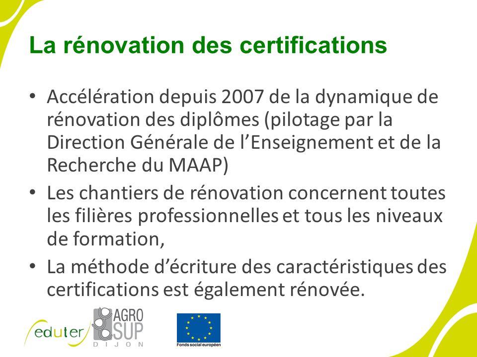 La rénovation des certifications Accélération depuis 2007 de la dynamique de rénovation des diplômes (pilotage par la Direction Générale de lEnseignement et de la Recherche du MAAP) Les chantiers de rénovation concernent toutes les filières professionnelles et tous les niveaux de formation, La méthode décriture des caractéristiques des certifications est également rénovée.