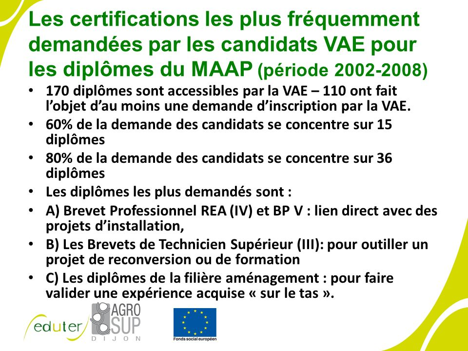 Les certifications les plus fréquemment demandées par les candidats VAE pour les diplômes du MAAP (période 2002-2008) 170 diplômes sont accessibles par la VAE – 110 ont fait lobjet dau moins une demande dinscription par la VAE.