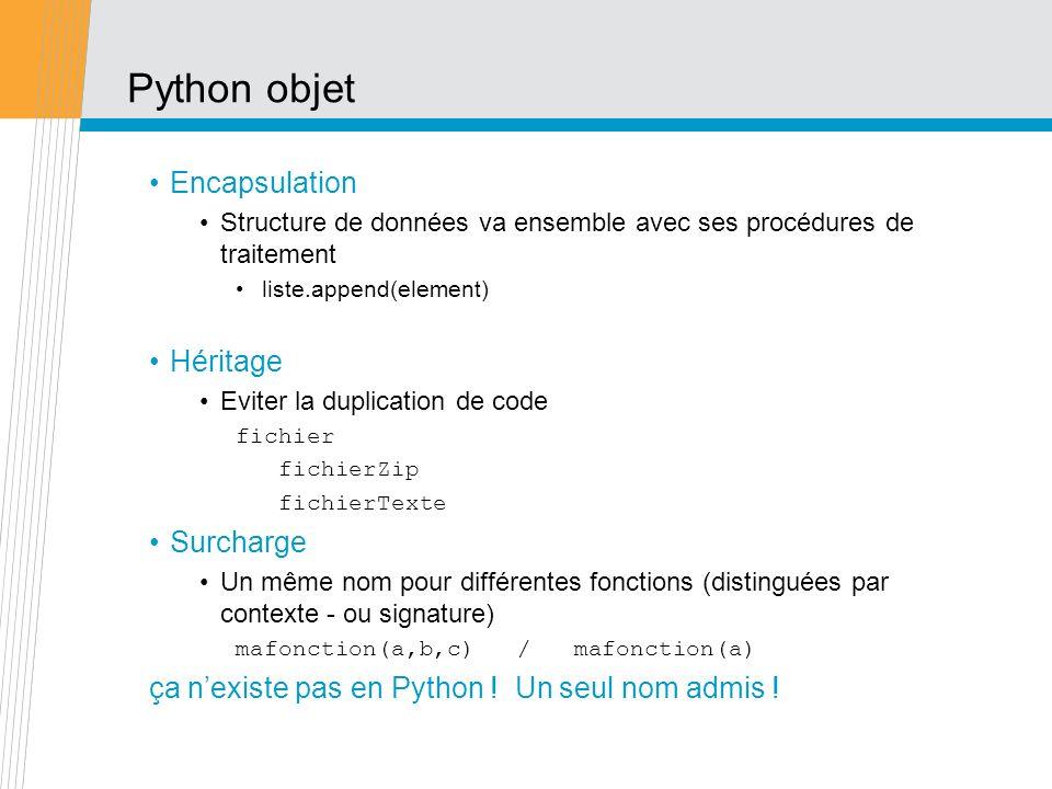 Python objet Encapsulation Structure de données va ensemble avec ses procédures de traitement liste.append(element) Héritage Eviter la duplication de