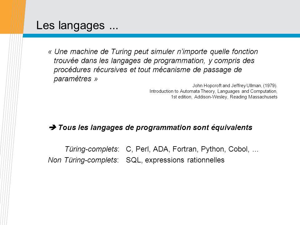 Les langages... « Une machine de Turing peut simuler nimporte quelle fonction trouvée dans les langages de programmation, y compris des procédures réc