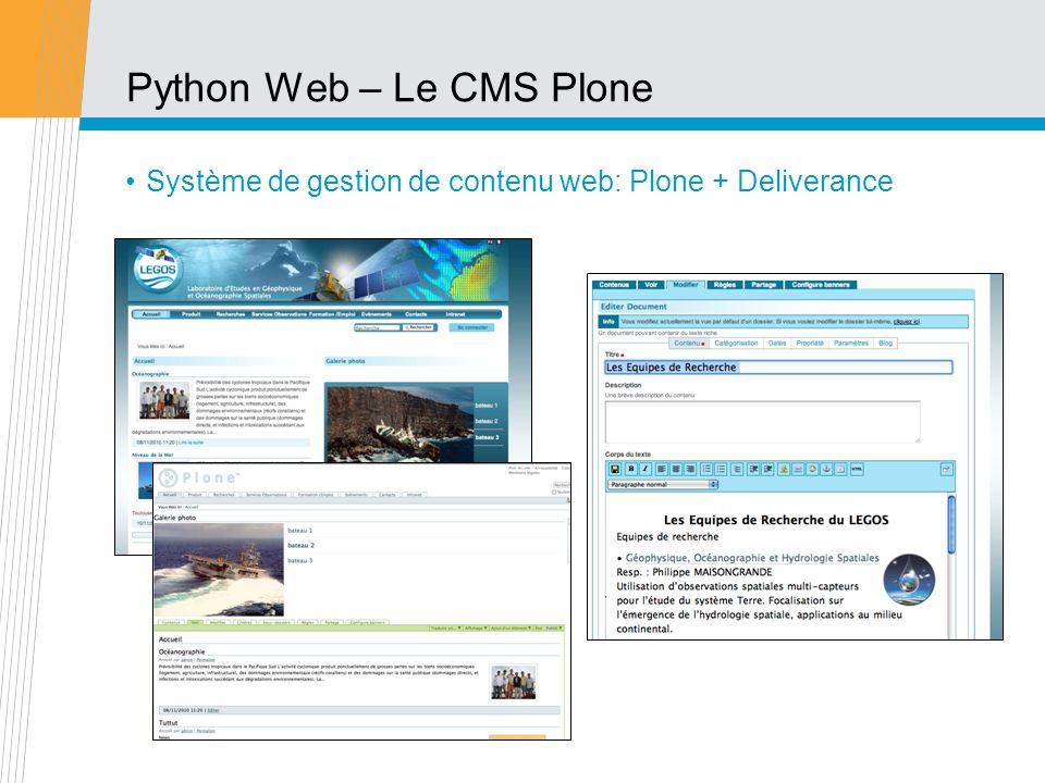 Python Web – Le CMS Plone Système de gestion de contenu web: Plone + Deliverance