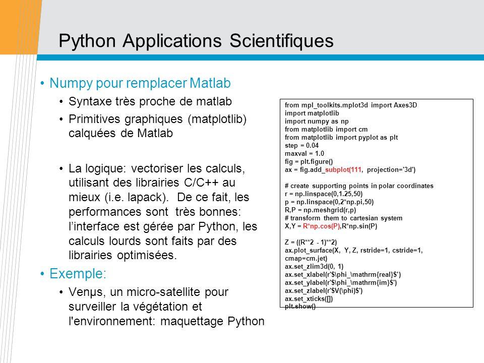 Python Applications Scientifiques Numpy pour remplacer Matlab Syntaxe très proche de matlab Primitives graphiques (matplotlib) calquées de Matlab La l