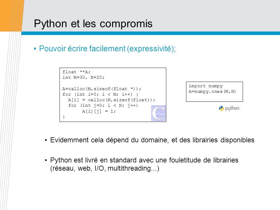 Python et les compromis Pouvoir écrire facilement (expressivité); Evidemment cela dépend du domaine, et des librairies disponibles Python est livré en