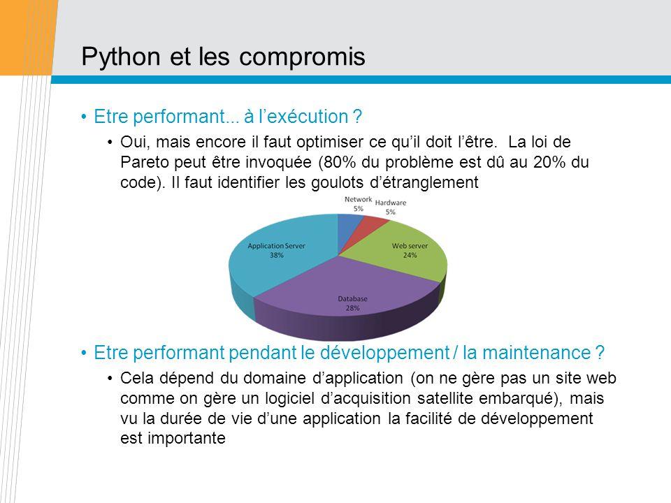 Python sadapte aux systèmes La performance sobtient en sachant sadapter: aux systèmes – Python est conçu dès le départ pour lintégration interprété, avec introspection (le code peut se voir lui-même) facilement étendu (SWIG...) import numpy if numpy.__version__ == 1.5.0 : apply_patch()