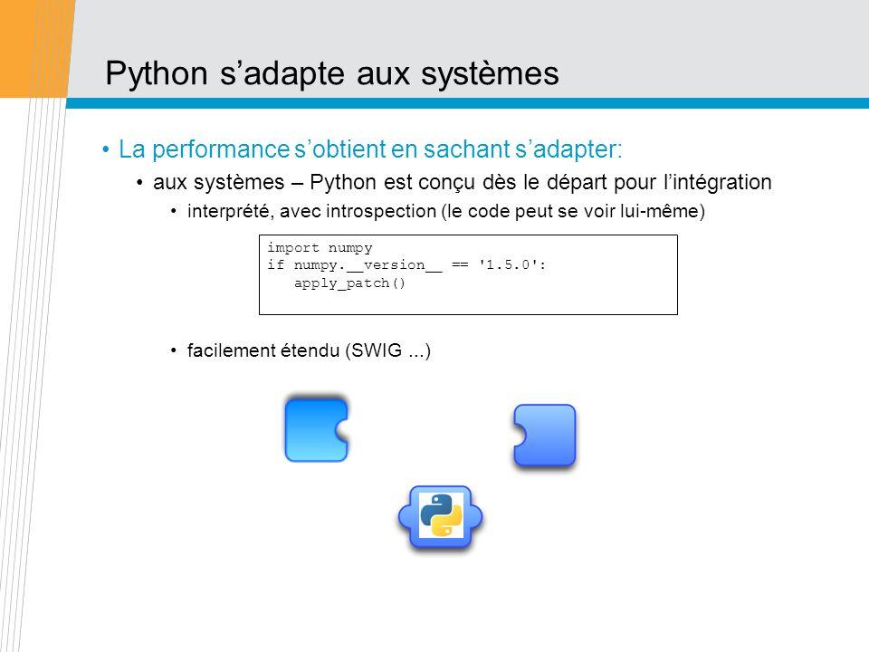 Python sadapte aux systèmes La performance sobtient en sachant sadapter: aux systèmes – Python est conçu dès le départ pour lintégration interprété, a