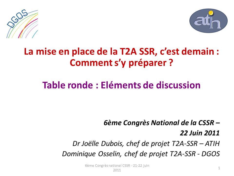 La mise en place de la T2A SSR, cest demain : Comment sy préparer ? Table ronde : Eléments de discussion 6ème Congrès National de la CSSR – 22 Juin 20