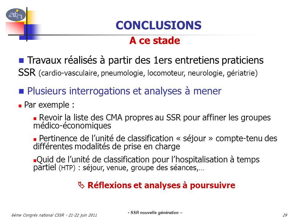 - SSR nouvelle génération – 6ème Congrès national CSSR - 21-22 juin 201129 CONCLUSIONS Travaux réalisés à partir des 1ers entretiens praticiens SSR (c