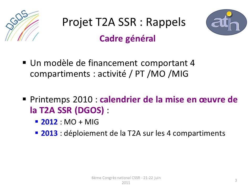 Projet T2A SSR : Rappels Un modèle de financement comportant 4 compartiments : activité / PT /MO /MIG Printemps 2010 : calendrier de la mise en œuvre
