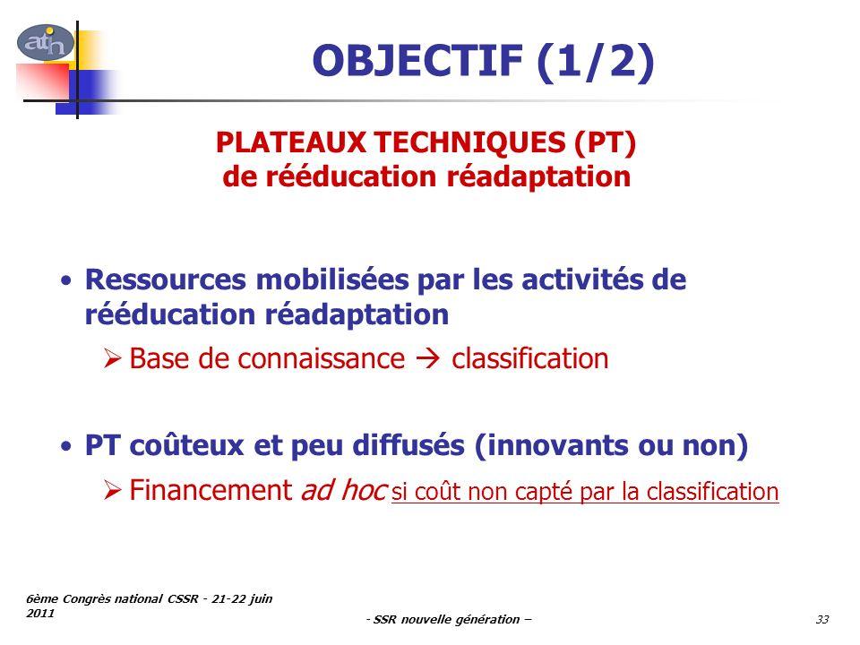 - SSR nouvelle génération – 6ème Congrès national CSSR - 21-22 juin 2011 33 OBJECTIF (1/2) PLATEAUX TECHNIQUES (PT) de rééducation réadaptation Ressou