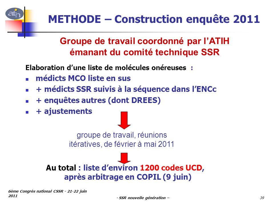 - SSR nouvelle génération – 6ème Congrès national CSSR - 21-22 juin 2011 39 METHODE – Construction enquête 2011 Elaboration dune liste de molécules on