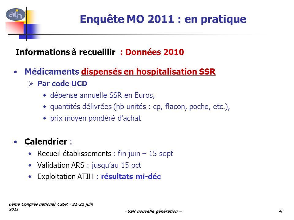 - SSR nouvelle génération – 6ème Congrès national CSSR - 21-22 juin 2011 40 Enquête MO 2011 : en pratique Médicaments dispensés en hospitalisation SSR
