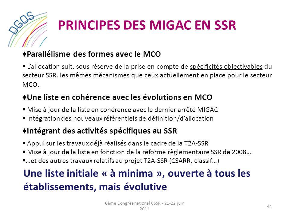 PRINCIPES DES MIGAC EN SSR Parallélisme des formes avec le MCO Lallocation suit, sous réserve de la prise en compte de spécificités objectivables du s