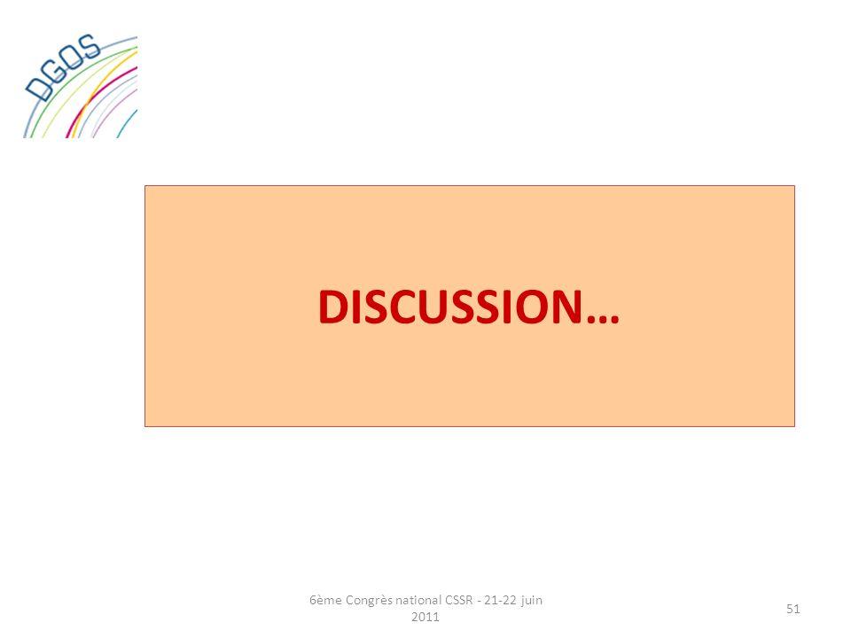 DISCUSSION… 51 6ème Congrès national CSSR - 21-22 juin 2011