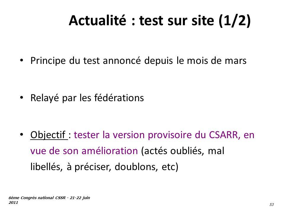6ème Congrès national CSSR - 21-22 juin 2011 53 Actualité : test sur site (1/2) Principe du test annoncé depuis le mois de mars Relayé par les fédérat