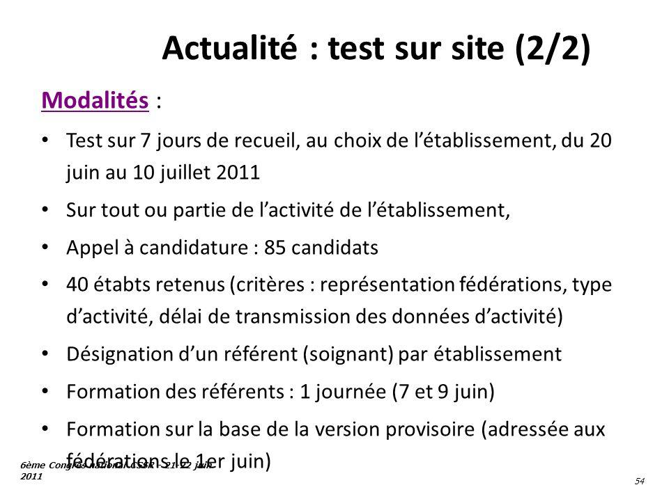 6ème Congrès national CSSR - 21-22 juin 2011 54 Actualité : test sur site (2/2) Modalités : Test sur 7 jours de recueil, au choix de létablissement, d