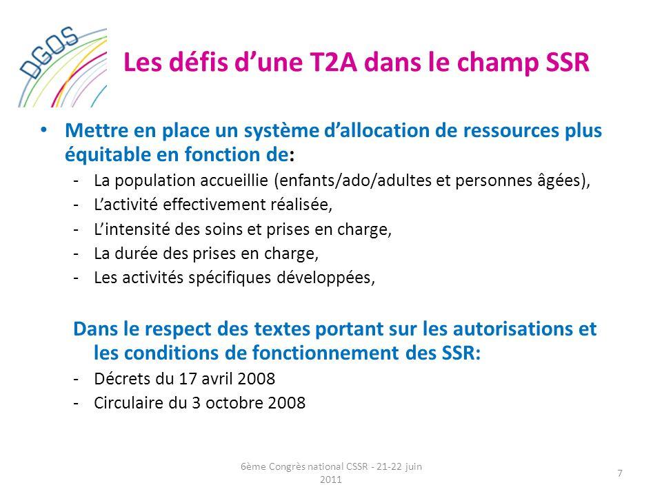 Les défis dune T2A dans le champ SSR Mettre en place un système dallocation de ressources plus équitable en fonction de: -La population accueillie (en