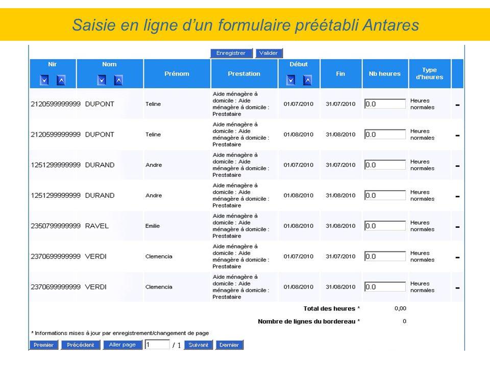Saisie en ligne dun formulaire préétabli Antares