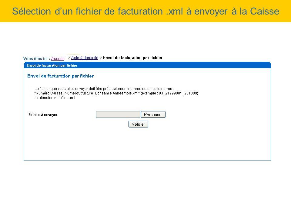 Sélection dun fichier de facturation.xml à envoyer à la Caisse
