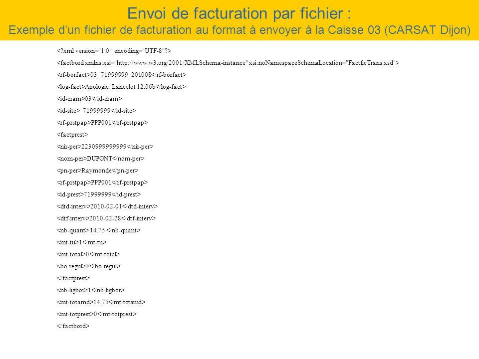 Envoi de facturation par fichier : Exemple dun fichier de facturation au format à envoyer à la Caisse 03 (CARSAT Dijon) 03_71999999_201008 Apologic La