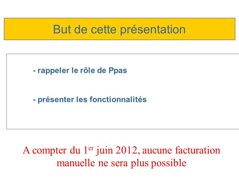 - rappeler le rôle de Ppas - présenter les fonctionnalités But de cette présentation A compter du 1 er juin 2012, aucune facturation manuelle ne sera