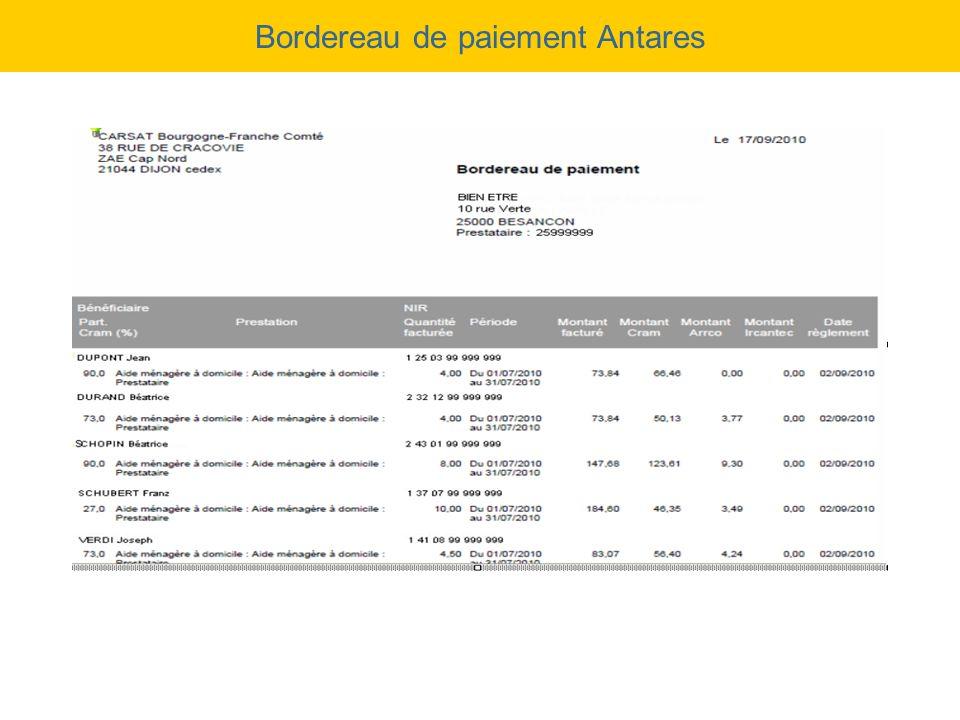 Bordereau de paiement Antares