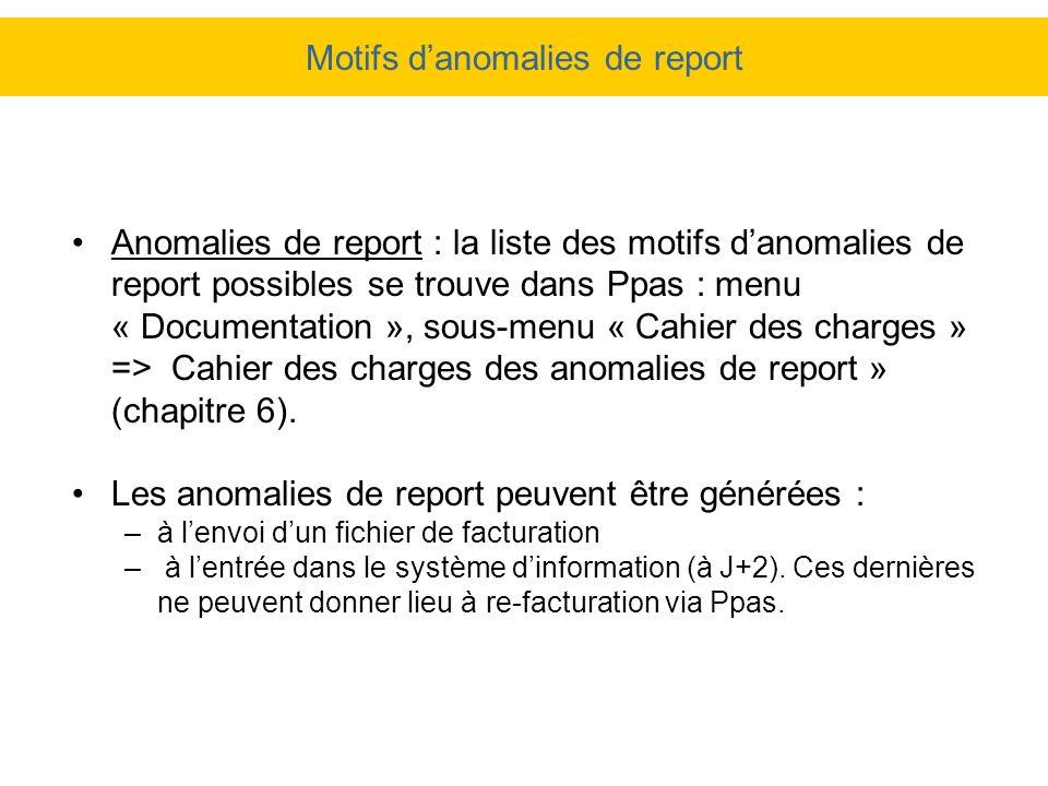 Motifs danomalies de report Anomalies de report : la liste des motifs danomalies de report possibles se trouve dans Ppas : menu « Documentation », sou