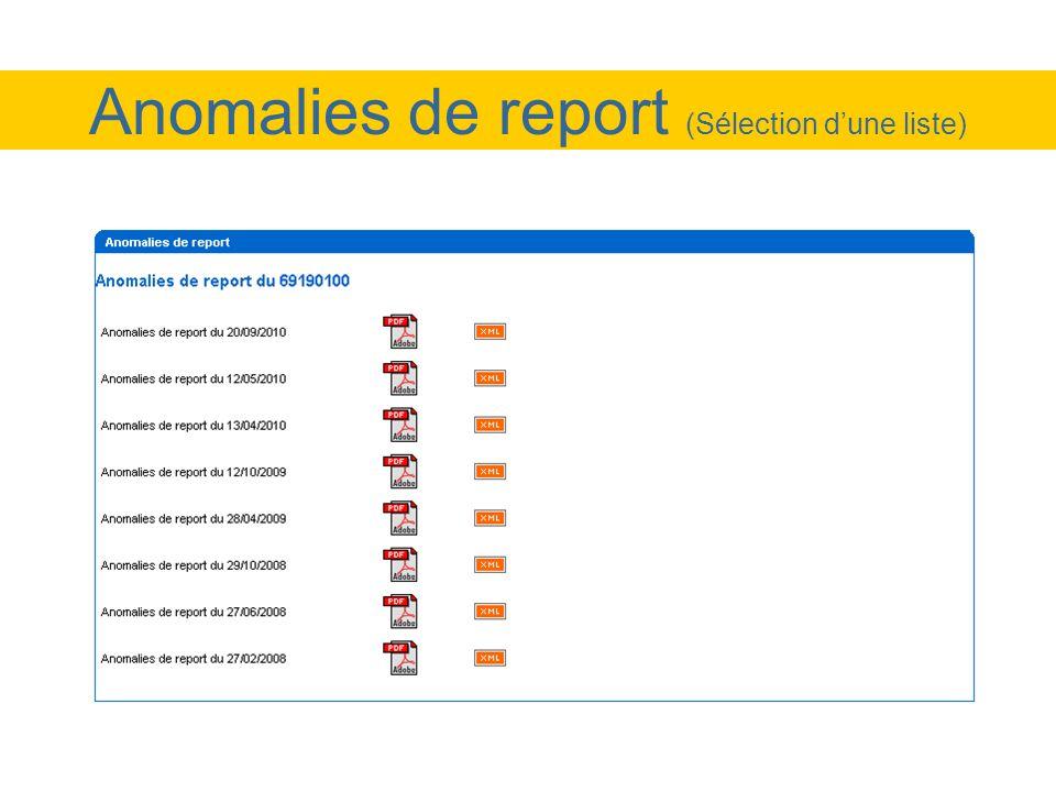 Anomalies de report (Sélection dune liste)