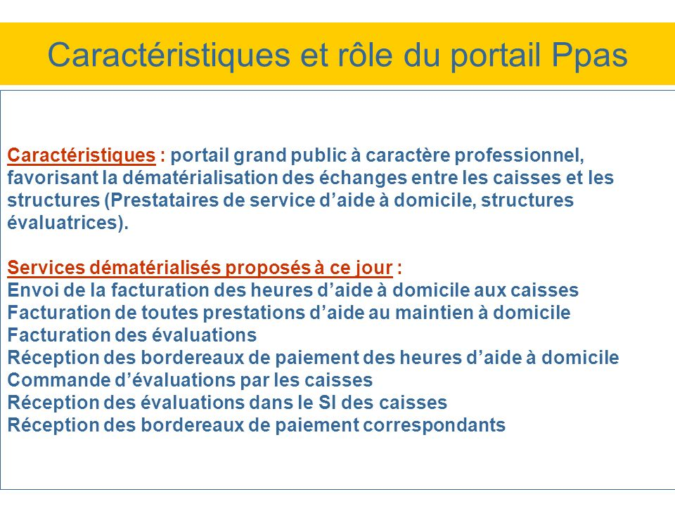 Caractéristiques : portail grand public à caractère professionnel, favorisant la dématérialisation des échanges entre les caisses et les structures (P
