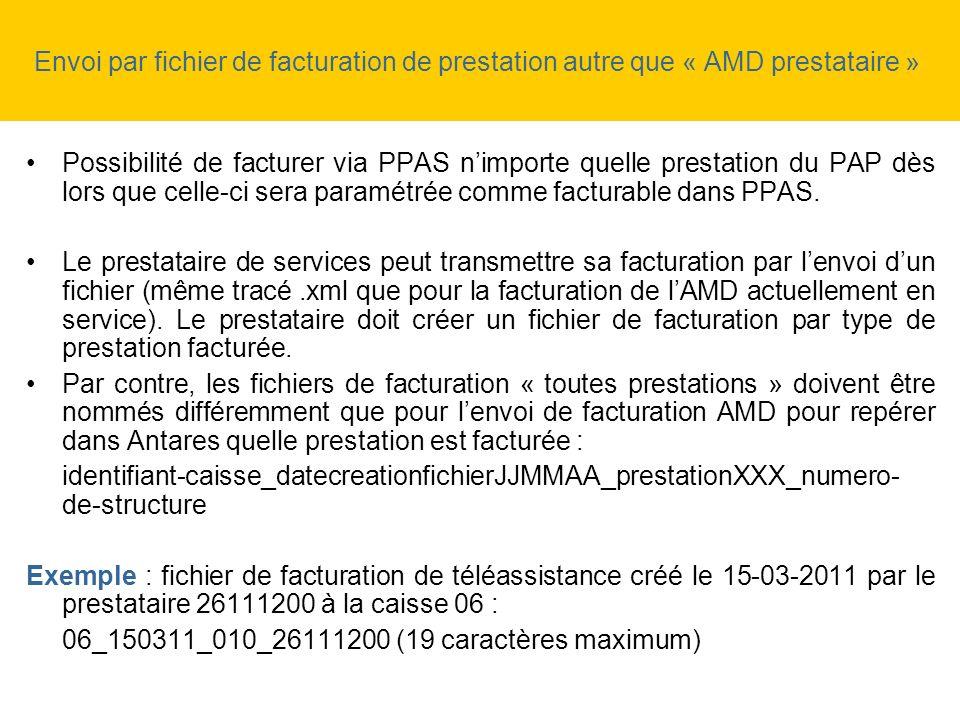 Envoi par fichier de facturation de prestation autre que « AMD prestataire » Possibilité de facturer via PPAS nimporte quelle prestation du PAP dès lo