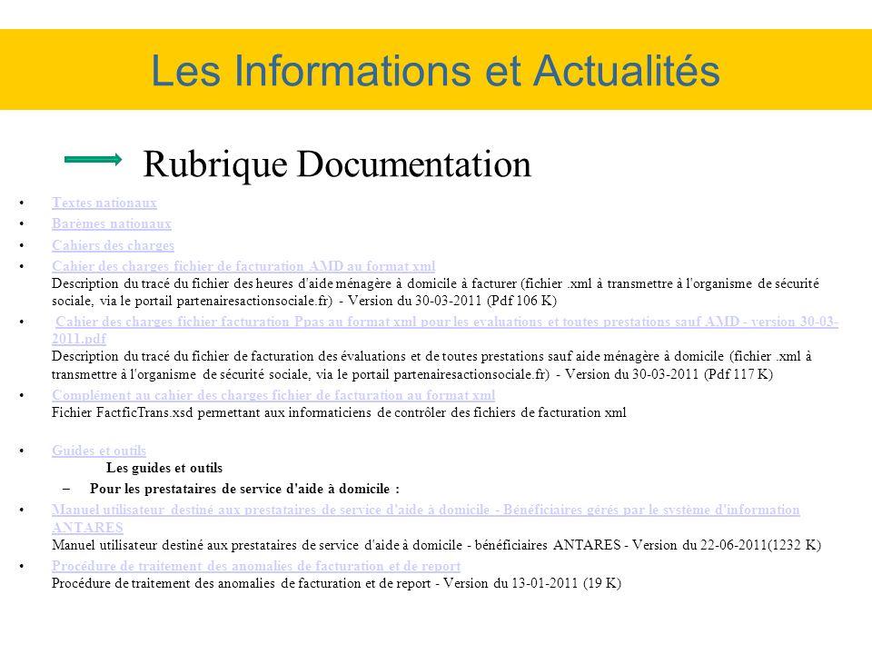 Les Informations et Actualités Textes nationaux Barèmes nationaux Cahiers des charges Cahier des charges fichier de facturation AMD au format xml Desc