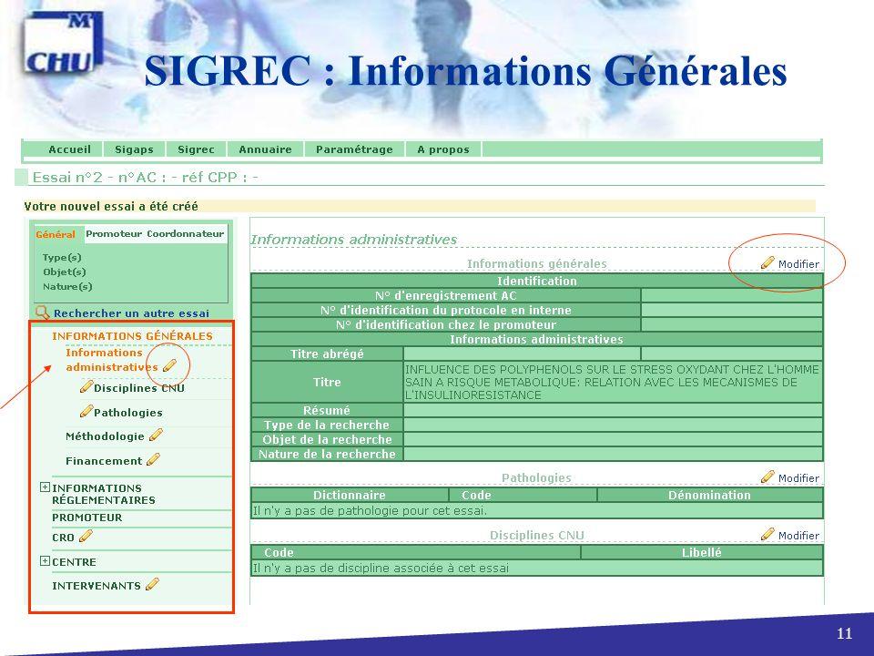 11 SIGREC : Informations Générales
