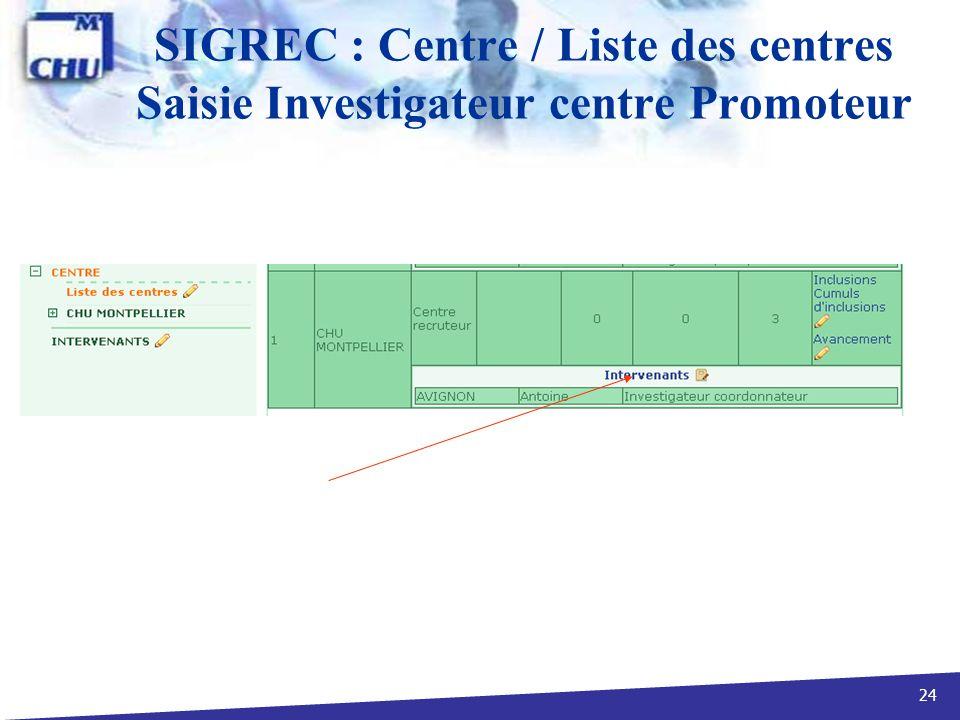 24 SIGREC : Centre / Liste des centres Saisie Investigateur centre Promoteur
