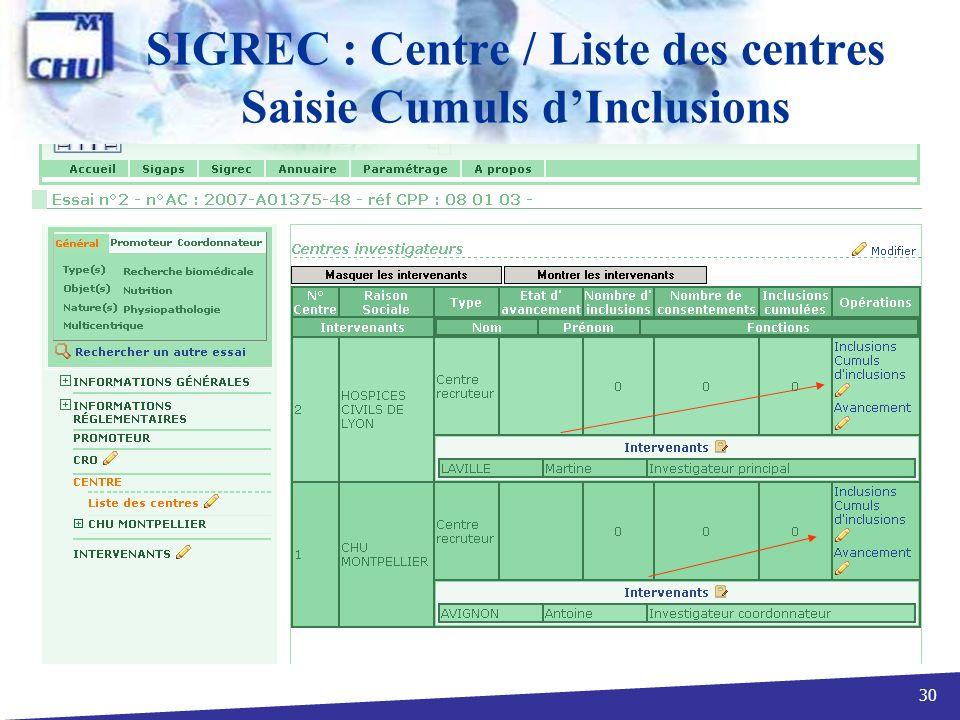 30 SIGREC : Centre / Liste des centres Saisie Cumuls dInclusions
