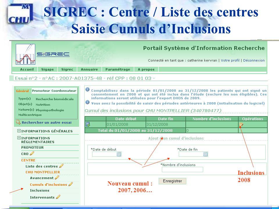 31 SIGREC : Centre / Liste des centres Saisie Cumuls dInclusions Inclusions 2008 Nouveau cumul : 2007, 2006…