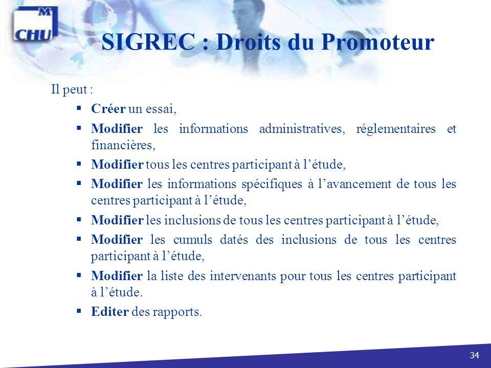 34 SIGREC : Droits du Promoteur Il peut : Créer un essai, Modifier les informations administratives, réglementaires et financières, Modifier tous les