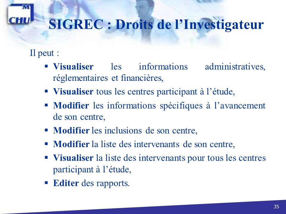 35 SIGREC : Droits de lInvestigateur Il peut : Visualiser les informations administratives, réglementaires et financières, Visualiser tous les centres