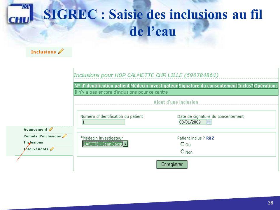 38 SIGREC : Saisie des inclusions au fil de leau