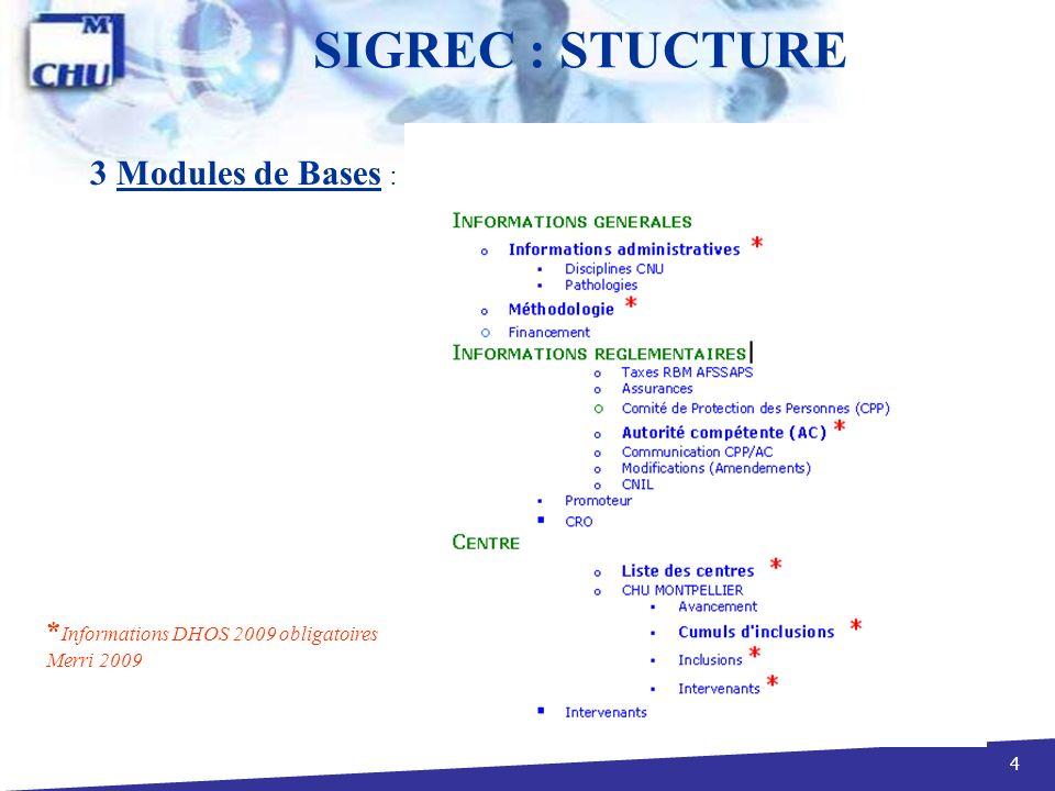 5 Si promoteur = Etablissement Hospitalier : il entre les informations réglementaires, administratives, la liste des centres associés et le cumul des inclusions de tous les centres.