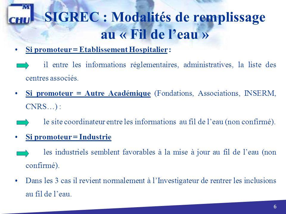 17 SIGREC : Informations Générales/Méthodologie 2