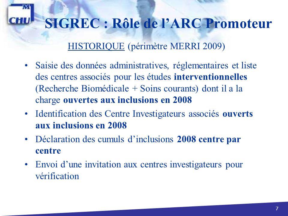 7 SIGREC : Rôle de lARC Promoteur Saisie des données administratives, réglementaires et liste des centres associés pour les études interventionnelles