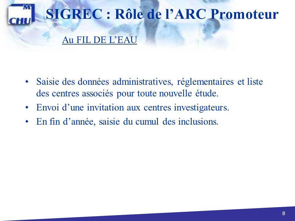 29 SIGREC : Centre / Liste des centres Vue Investigateur centre associé