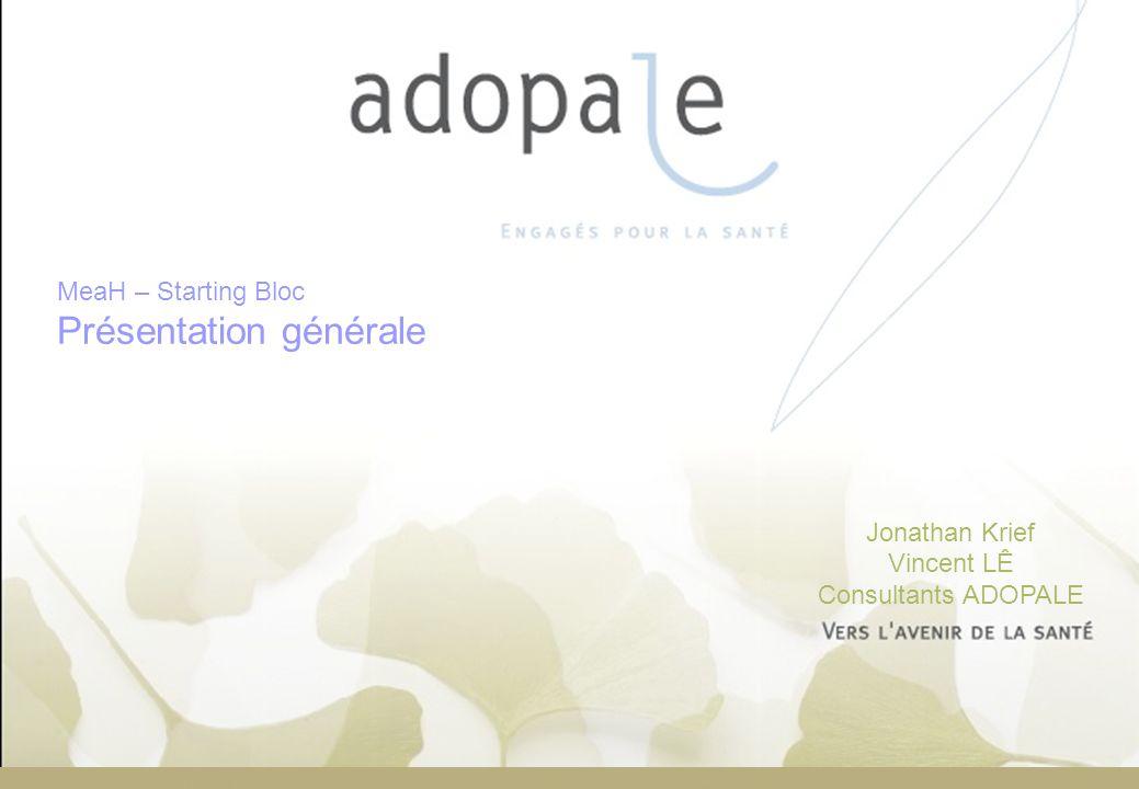 Page 1 Jonathan Krief Vincent LÊ Consultants ADOPALE MeaH – Starting Bloc Présentation générale