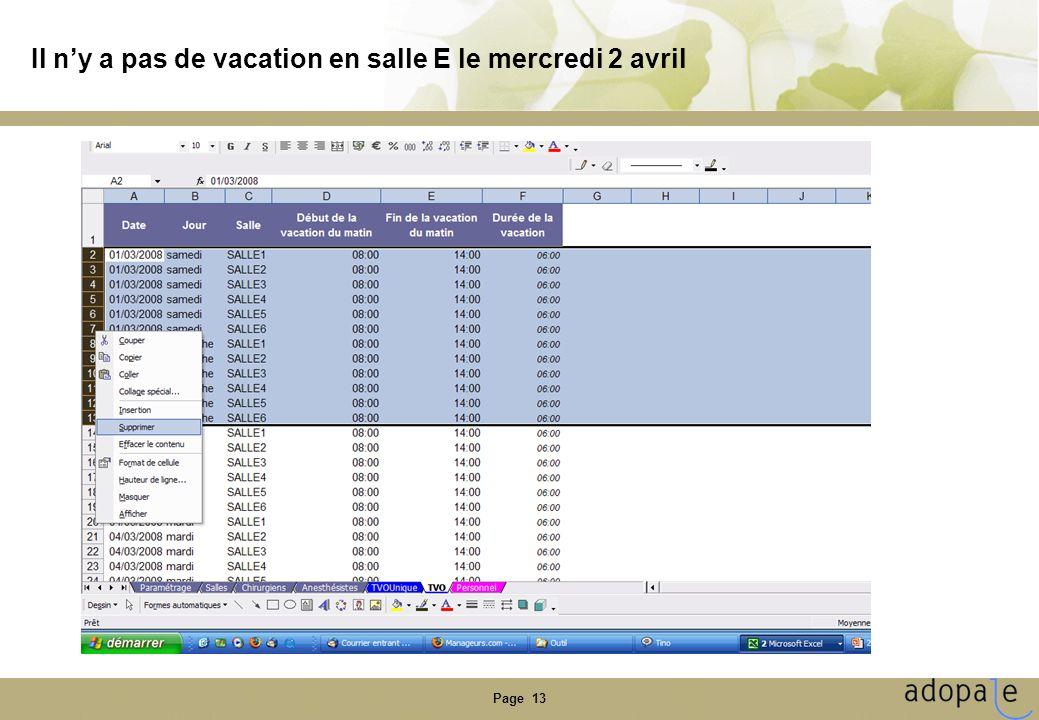 Page 13 Il ny a pas de vacation en salle E le mercredi 2 avril