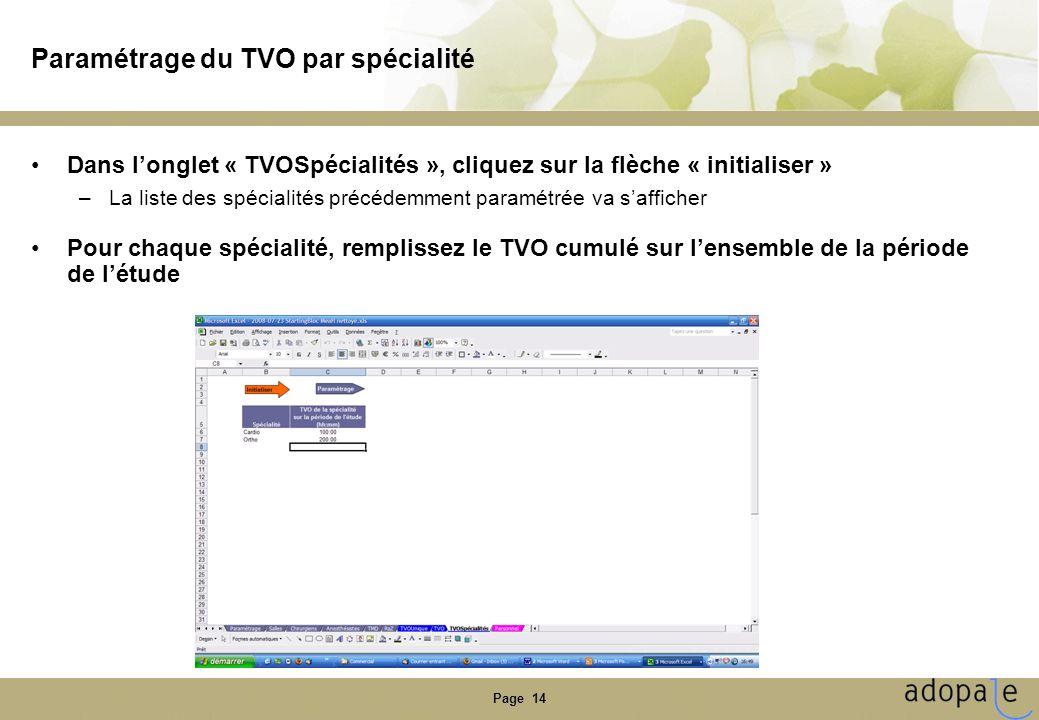 Page 14 Paramétrage du TVO par spécialité Dans longlet « TVOSpécialités », cliquez sur la flèche « initialiser » –La liste des spécialités précédemmen