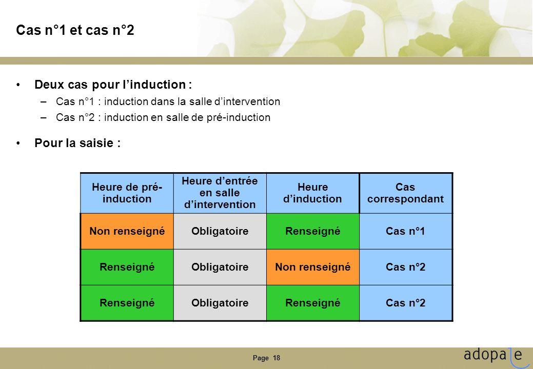 Page 18 Cas n°1 et cas n°2 Deux cas pour linduction : –Cas n°1 : induction dans la salle dintervention –Cas n°2 : induction en salle de pré-induction